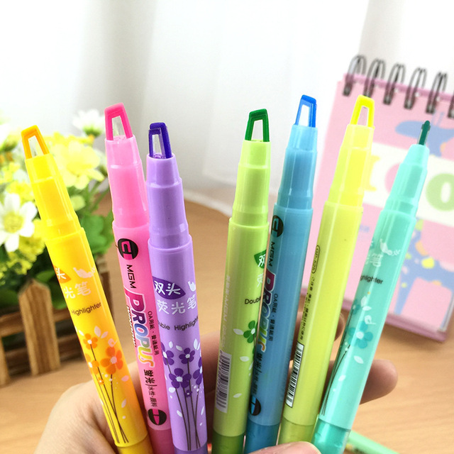 10pcs Lot Korean Stationery Candy Color Double Highlighters Pen Diy Scribble Marker Canetas Office