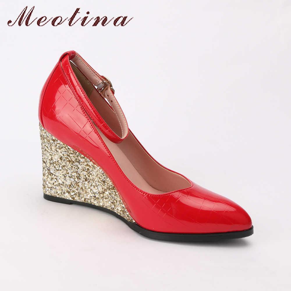 Meotina Yüksek Topuklu 2018 Bling Ayakkabı Kadın Kama Topuklu Pu Patent Deri Pompaları Bahar Beyaz Takozlar Düğün parti ayakkabıları Siyah Kırmızı