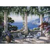 Hand Painted contemporary decorative art coastal landscapes Oil painting on canvas Mediterranean Terrace wall decor High quality
