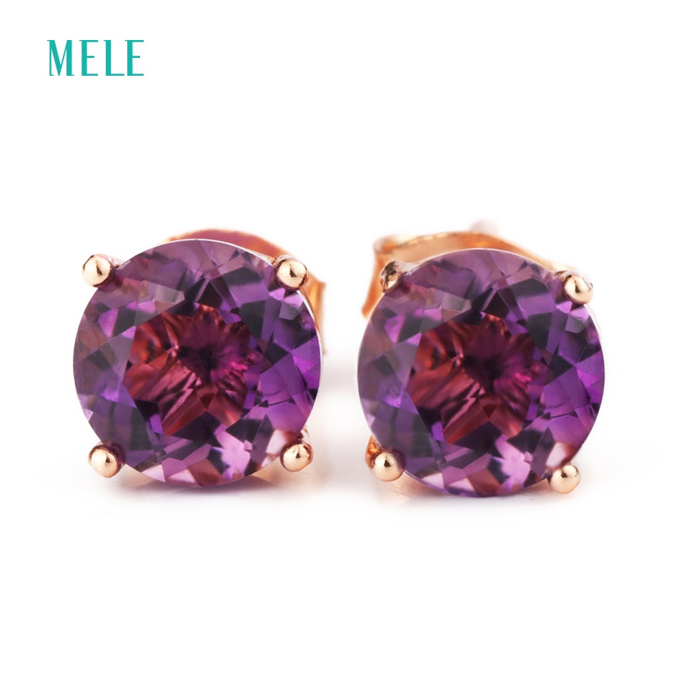 MELE Natural amethyst silver earring, round 6mm*6mm, deep purple color, brief but fashion design, hotsaleMELE Natural amethyst silver earring, round 6mm*6mm, deep purple color, brief but fashion design, hotsale