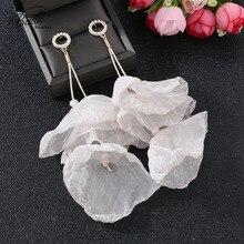 Badu Long Charm Drop Earrings for Women 5 Bright Colors Yarn Flower 2019 Fashion Summer Handmade Jewelry Wholesal