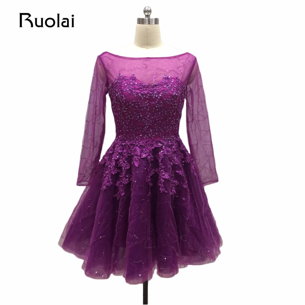 Real Image Purple Evening Dresses Short A Line Sequin Beaded ...