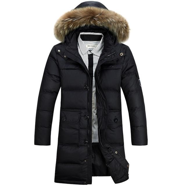 f9cd9efaa093 Зимняя Куртка Мужчины 90% Белая Утка Вниз Длинные Куртки Согреться пальто  Повседневная мужская толстая Вниз