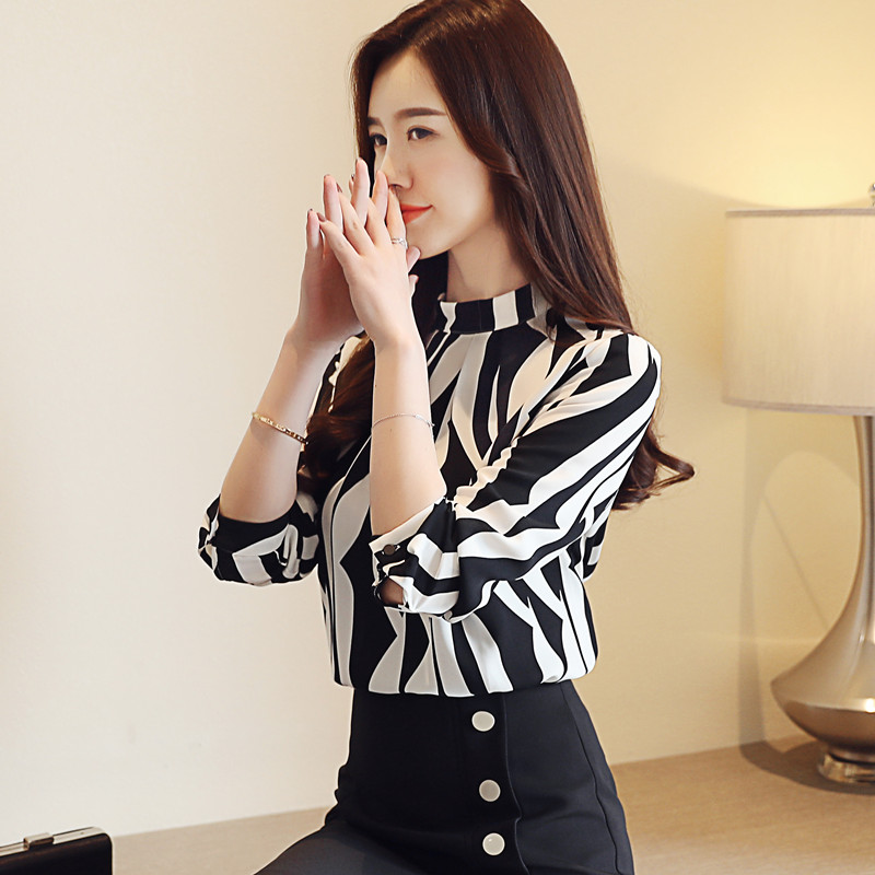 New Arrived Fashion Women Blouse Long Sleeved Printed Women Top  Stand Collar Blouses Slim Fit Office Lady Blusa 0941 40 #2