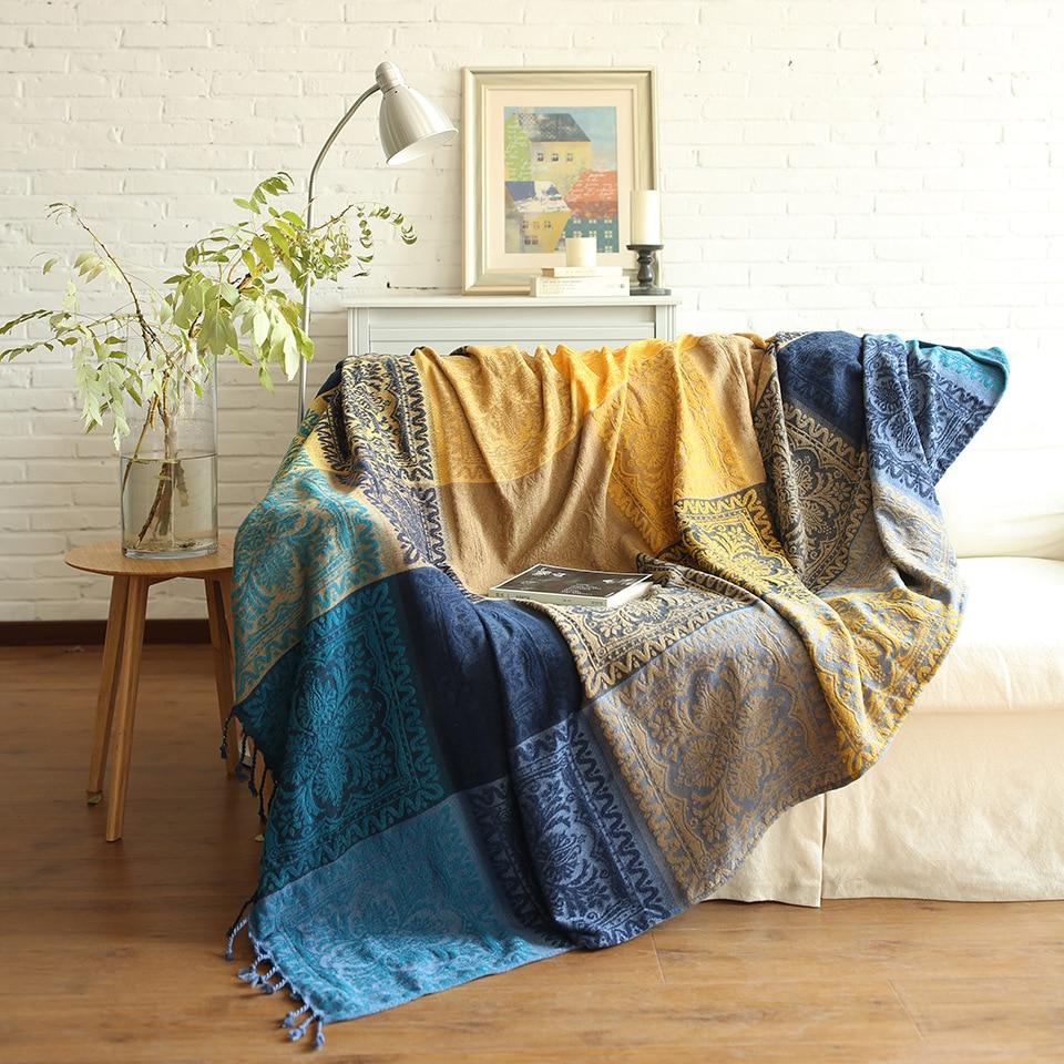 Bohemia Sofa Blanket Chenille Blanket For Sofa Living Room Bedroom Rug Soft Carpet Bedspread