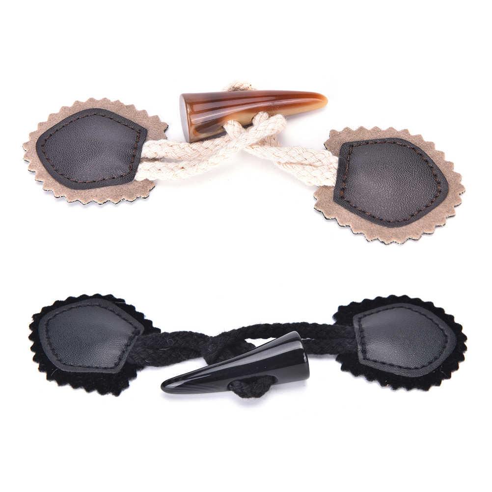 1ペアoxホーントグル縫製ボタン用コートジャケット黒茶色diy衣服アクセサリーブラックコーヒー