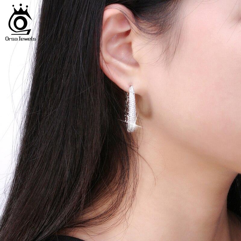 ORSA JEWELS Luxury Silver Color Hoop Örhängen Paved med AAA - Märkessmycken - Foto 6