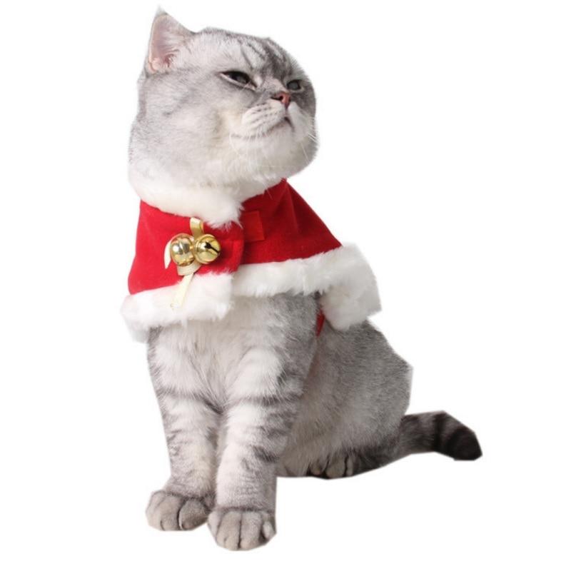 Christmas Cat Clothes Suit Winter Pet Clothes for Cat Coat Suit Warm Cat Coat Jacket Santa Claus Christmas Pet Apparel
