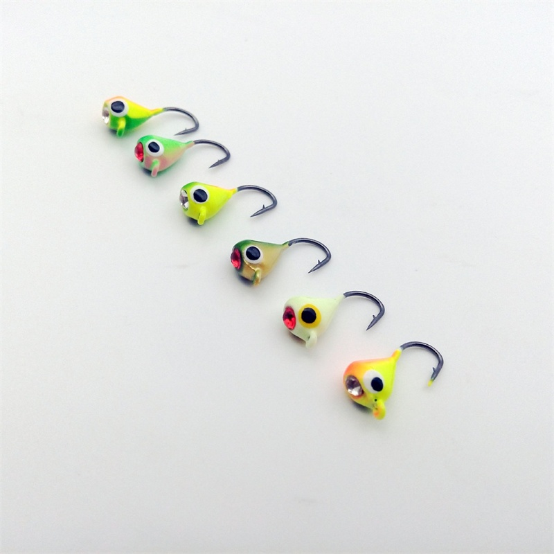 Winter Ice Fishing Hook Lure Mini Metal Bait Fish 6Pcs 15mm/1.1g Lead Head Hook Bait Jigging Fishing Tackle hengjia 32pcs 3 5g fishing lure worm jighead hook for bass fishing hook soft bait artificial lure