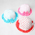 New Cotton Girls Hats Print Adjustable Kids Bucket Hat with Bow Children Cap for 2-3 Years 1 PC