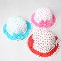 Nuevas muchachas del algodón sombreros ajustable de impresión niños del sombrero del cubo con los niños del arco cap para 2-3 años 1 unid