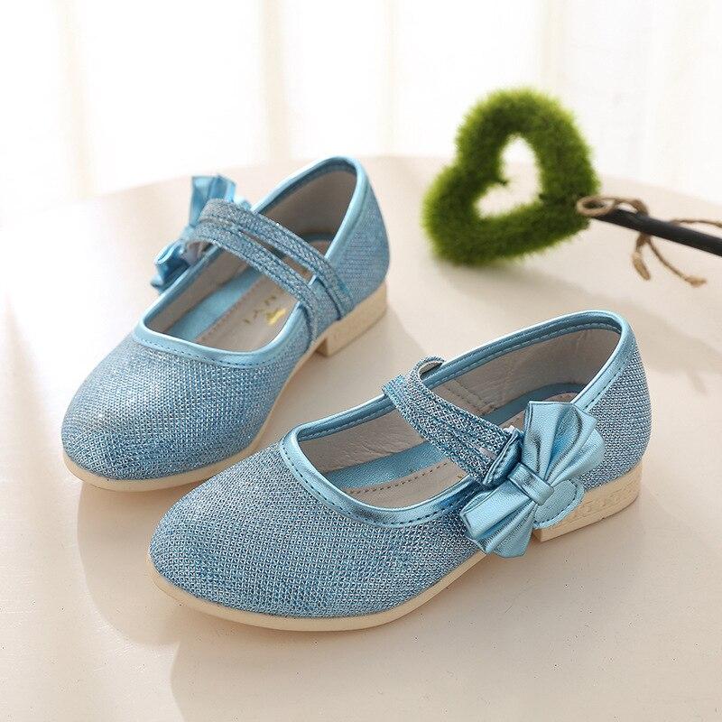 2017 Nubuck Leather Shoes Flat Heels Shoes Calzado Ninas Reine Des Neiges Glitter Sandals Shoes Princess Bowtie Sandals shoes