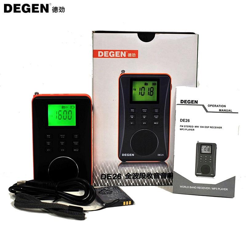 Динамический модный стерео DEGEN DE26 MW. SW DSP цифровой приемник FM USB радио с MP3 плеером цифровая аудио MP3 карта полный диапазон|full band|receiver fmdegen de26 | АлиЭкспресс