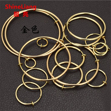 Invisible spring Clip earrings for women men without piercing Ear lip nose clip Small Round circle gold Fashion jewelry Earrings