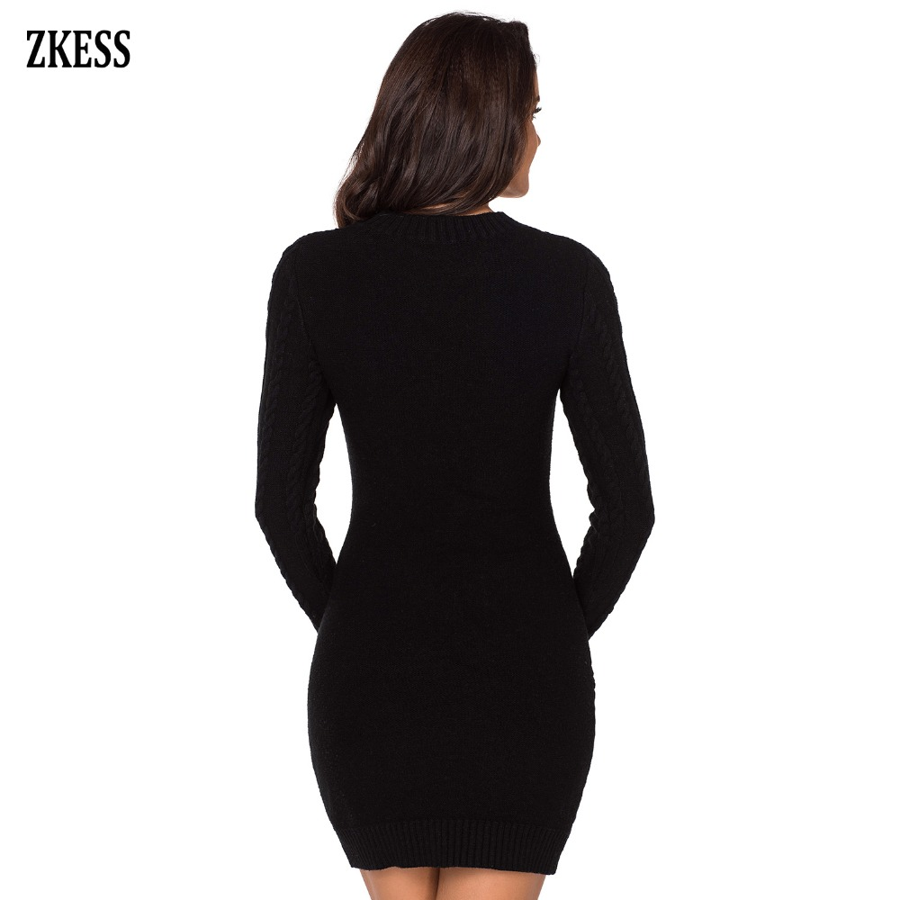3ae8355d909 Zkess Women Fashion Knitted Slouchy Cable Sweater Dress Winter Casual Long  Sleeve O Neck Club Party Fitted Mini Dress LC27865 -in Dresses from Women s  ...