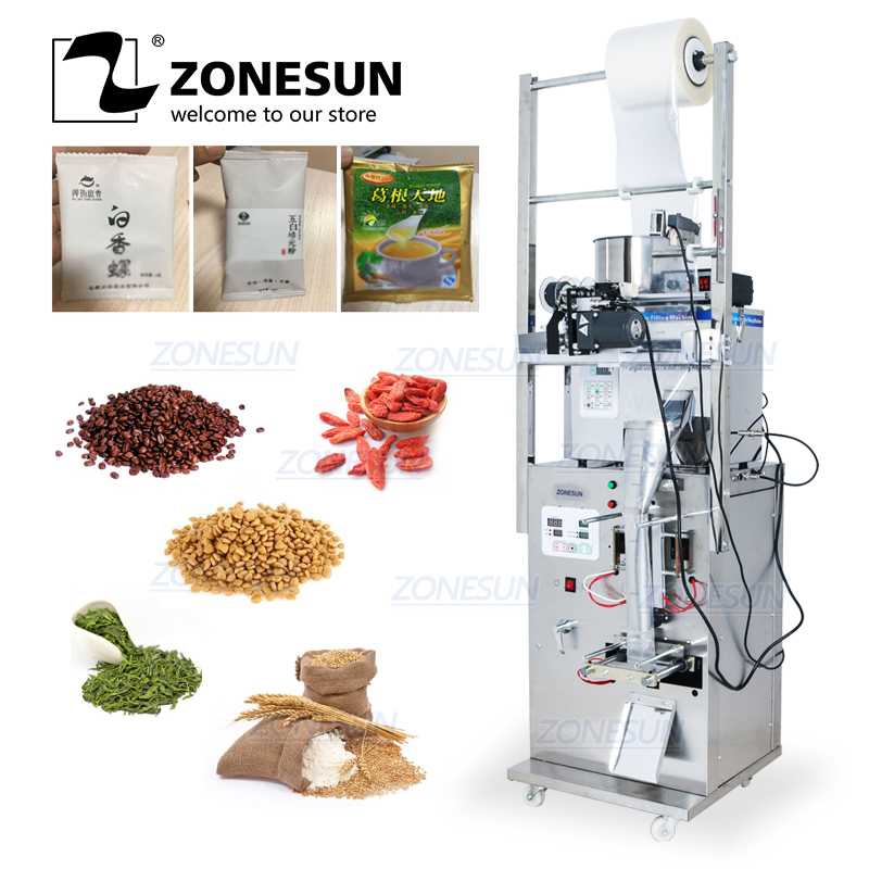 ZONESUN Automatic 2-50G Dry And Massive Power Filling Hardware Nut Automatic Powder Tea Surge Sealing Racking Packing Machine