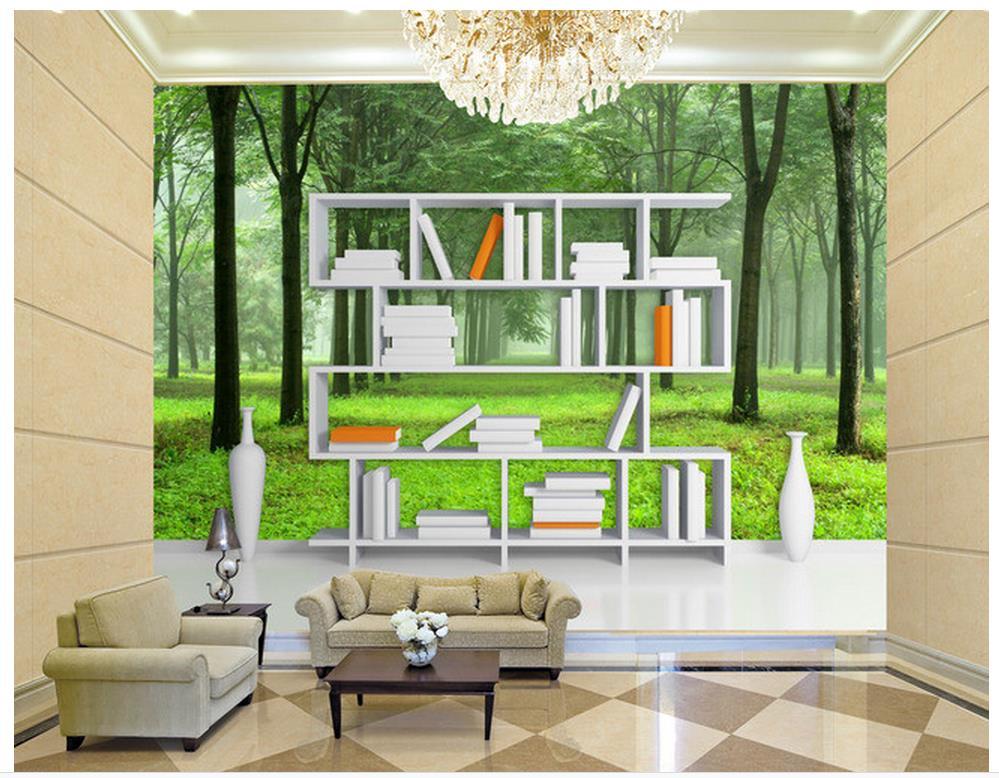 Home Decoration 3D Creative Bookshelf Forest Backdrop 3d Wall Murals Wallpaper Custom Photo