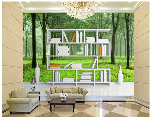 Home Decoration 3D Creative Bookshelf Forest Backdrop 3d Wall Murals Wallpaper Custom Photo
