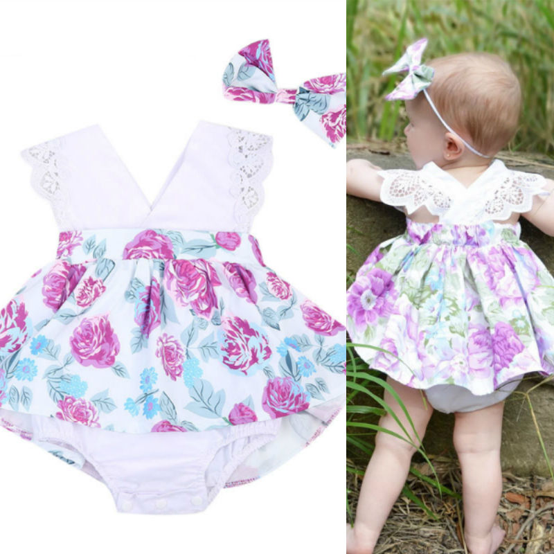 c3b7e3688118 Emmababy 2pcs Kids Toddler Baby Little Girls Sisters Ruffle Floral Jumpsuit  Romper Dress Lace Outfits Set ...