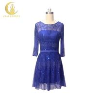 Рейн Реальный образец образ роскошным Королевский синий половина рукава Бусины колено lnegth праздничное торжественное платье пикантные Кок