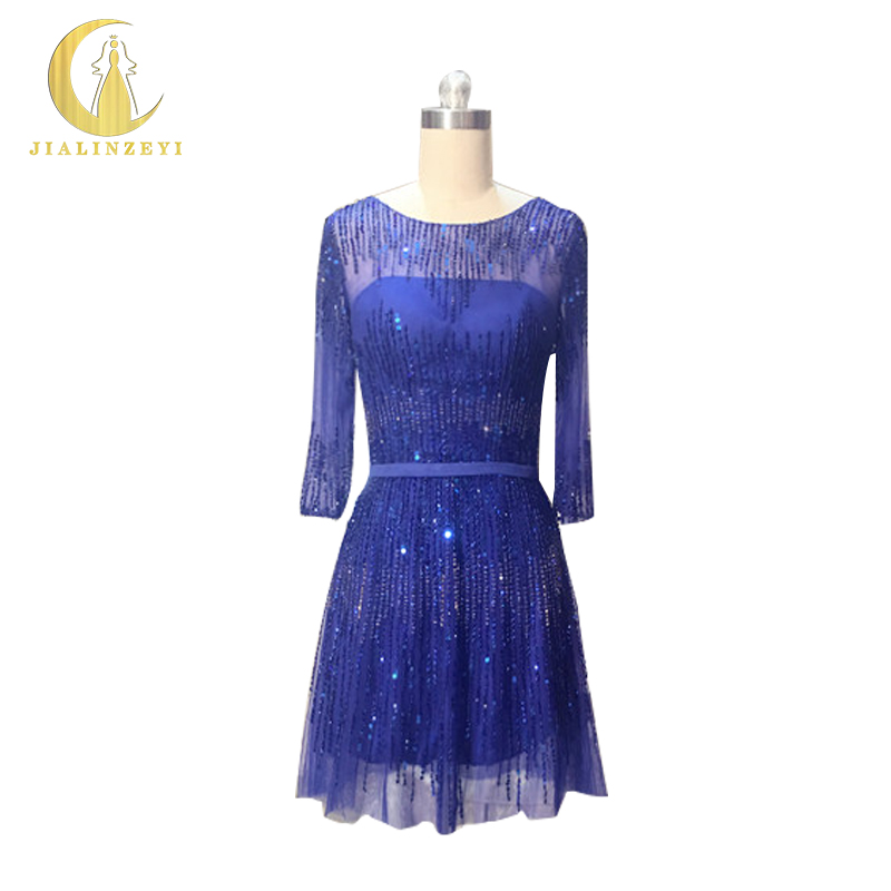 Rhine Real Sample Image Luxurious Royal Blue Half Sleeves Beads Knee Lnegth Party Formal Dress Sexy Cocktail Dresses