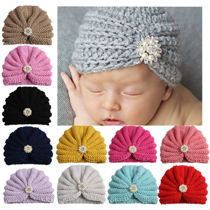 XCQGH Winter Baby Girl Hats with Pearls Knitted Newborn Infant Beanie Hat Baby Fotografia Cap Accessories