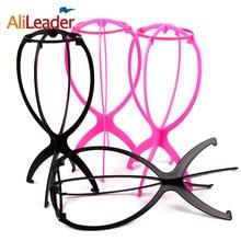 Top Kwaliteit Professionele Pruik Stand Plastic Pruik Houders Voor Styling Pruik Stabiel Duurzaam Pruik Ondersteuning Display Tool Zwart/Roze kleur