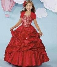Luxury Red 2016 Flower Girl Dresses For Weddings First Communion Little Girls Evening Gown Junior Graduation Shimmering Skirt