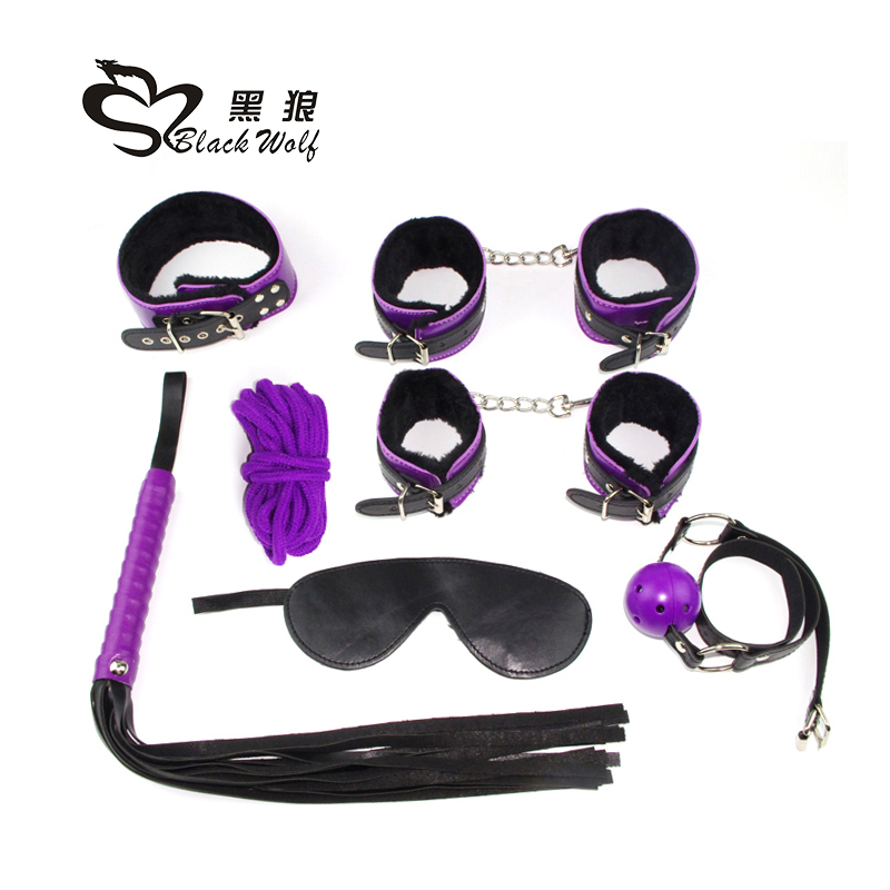7pcs sets 2016 Fetish sex toy lovers latest style purple leather factory erotic adult products couple of slaves masks BDSM