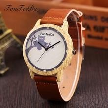 FanTeeDa Brand 2017 Fashion Casual Wooden Women Watch Owl Quartz Leather Strap Ladies Wristwatch Dress Clock Christmas Gift 2017