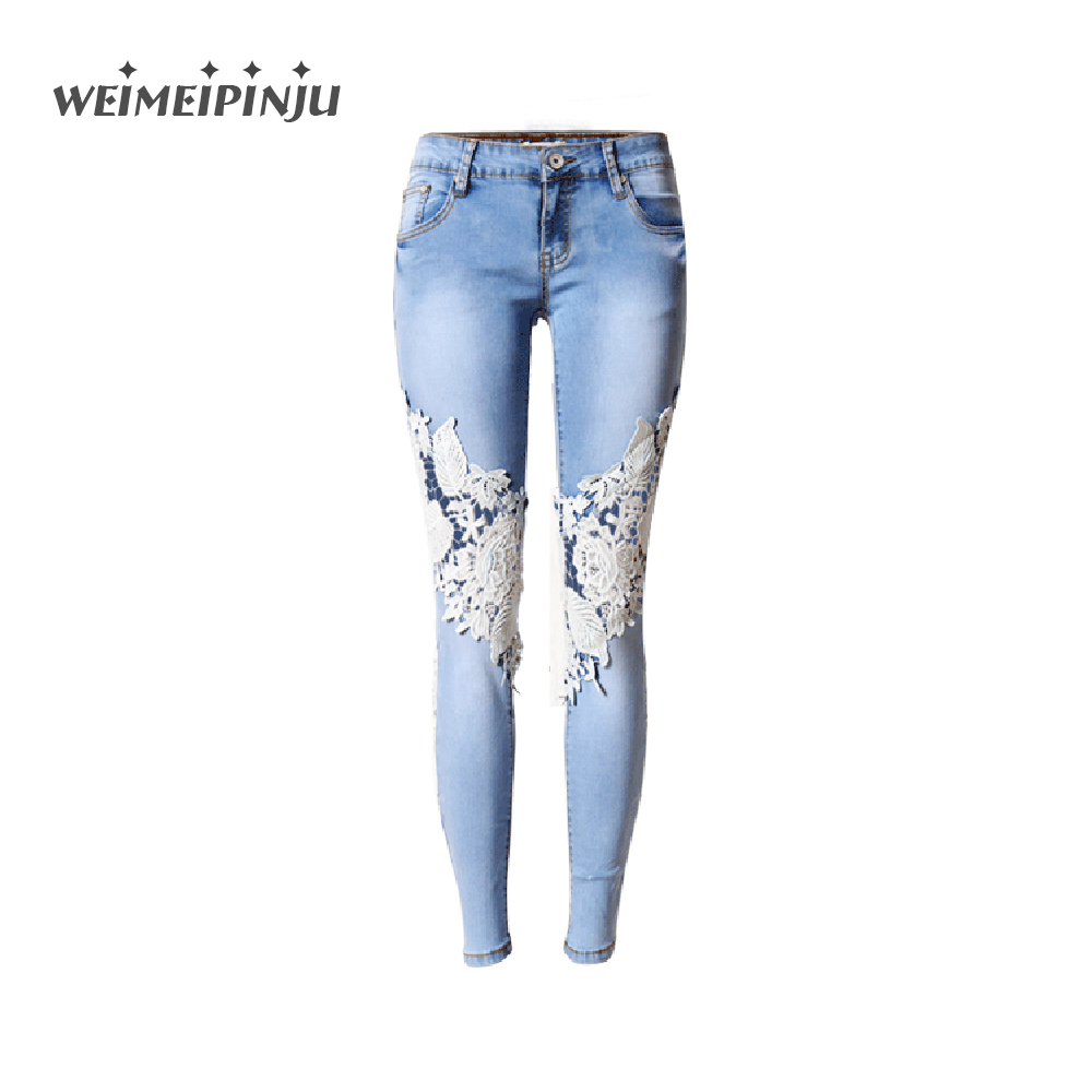 Summer Boyfriend Jeans For Women Hole Ripped White Lace Flowers Denim Pants Low Waist Mujer Vintage Skinny Stretch Jeans Female summer style vintage blue hole ripped jeans women cool denim low waist pants capris female skinny black white casual jeans