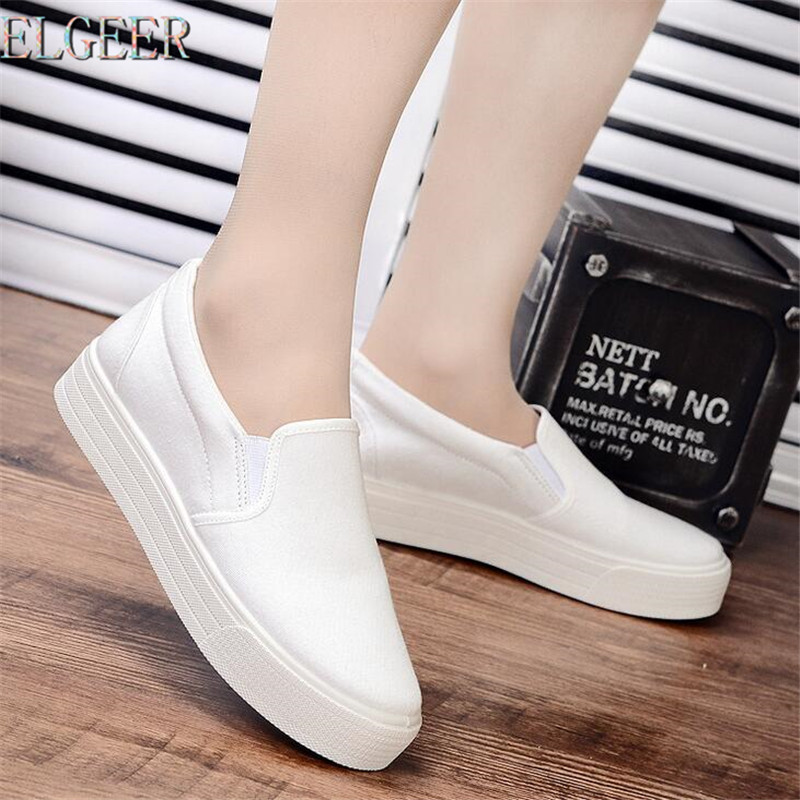 Spring and Autumn new white canvas shoes wild flat shoes female low cloth shoes female thick-soled women casual shoes creepers women shoes black white striped shoes female casual flat platform shoes round toe thick soled ladies shoes