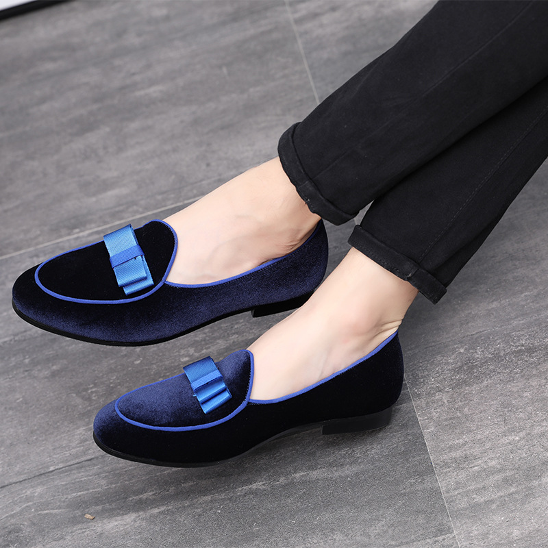 2019 High Quality Men   Leather   Shoes Bowknot   Suede   Loafers Wedding Formal Shoes Man Flats Gentlemen Casual Slip-on Business Shoes
