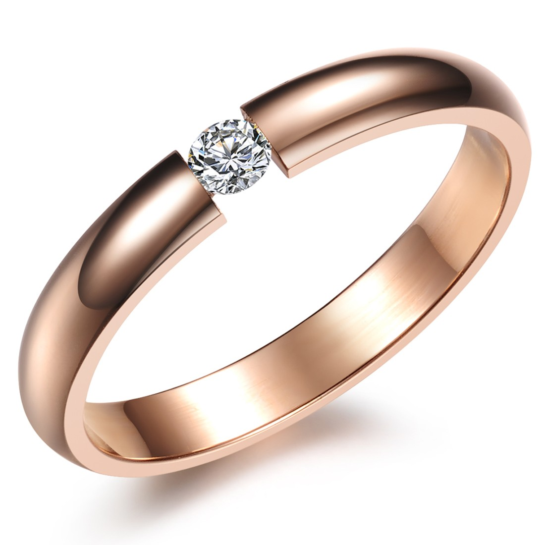 2017 New Fashion Women Jewelry Rose Gold Filled Ring Fine Exquisite Titanium Crystal Rings For Women anillos n373