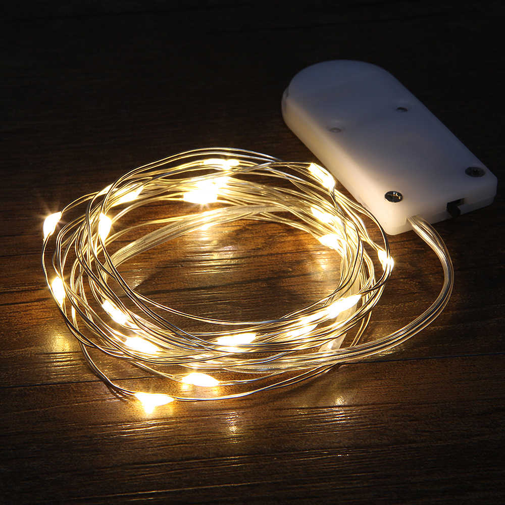 Christmas Lights 1M 10LEDs Waterproof Copper mini Fairy String Light Warm White Decoration Lamp Home Wedding CR2032 Battery