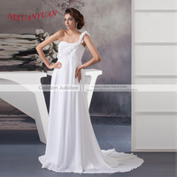 Top Rated One Shoulder Wedding Dress Chiffon A Line Cheap Bridal Gowns Custom Made Beach Wedding