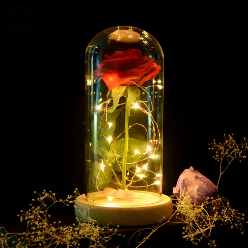 2018 Red Silk Rose and Led Light with Fallen Petals in a Glass Dome on a Wooden Base Valentines Day Mothers Day Gifts