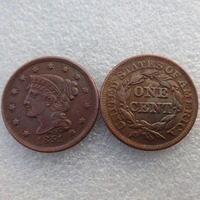 1851 Braided Hair Large / One Cent 100% Copper Manufacturing Old Copy Coins Free Shipping