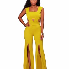 2017 Women Jumpsuit Summer v neck Split Side Sexy Rompers Long Jumpsuit Hollow Out yellow black