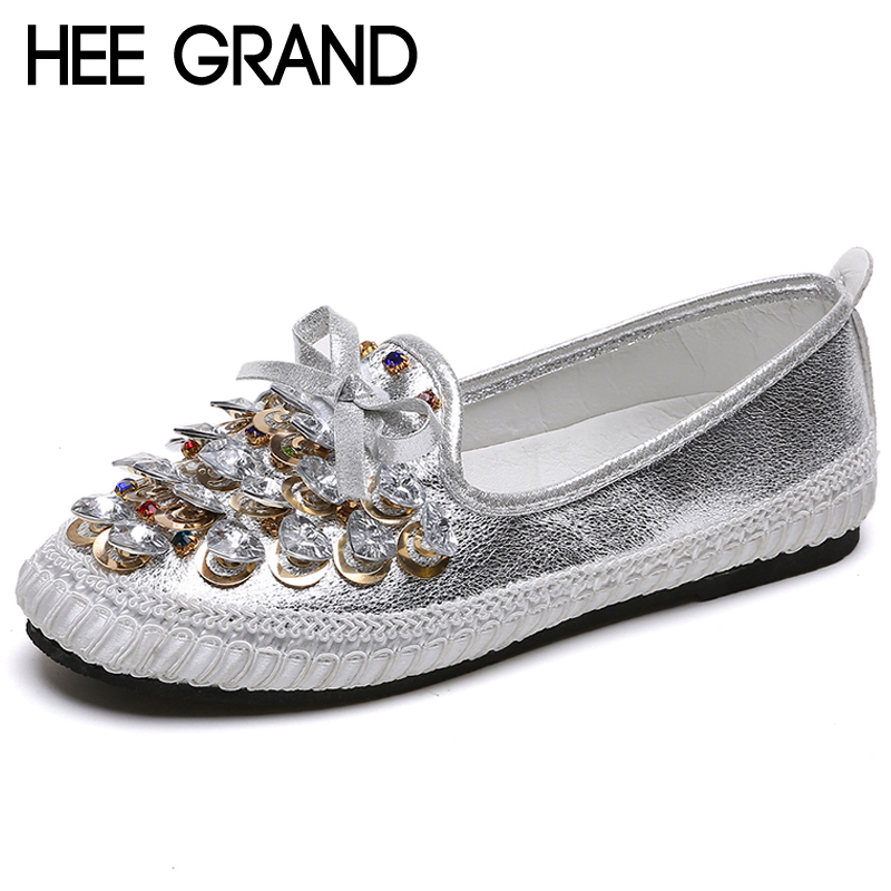 HEE GRAND Flowers Creepers Bling Glitter Ballet Flats Shoes Woman Loafers Comfort Slip On Casual Round Toe Women Shoes XWD6742 hee grand camouflage creepers 2017 lace up platform shoes woman wedges loafers slip on flats casual fahsion woman shoes xwd6038
