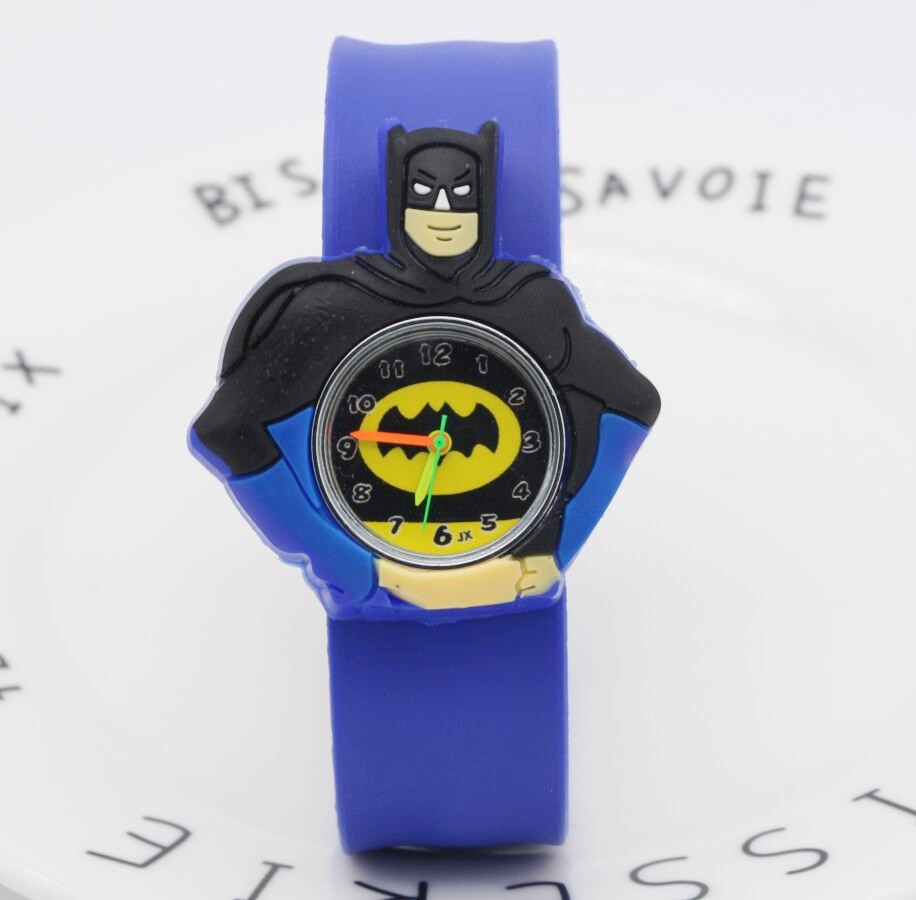 10pcs Batman Children Watch Fashion Watches Quartz Wristwatches Jelly Kids Slap Clock Boys Girls Students Wristwatch