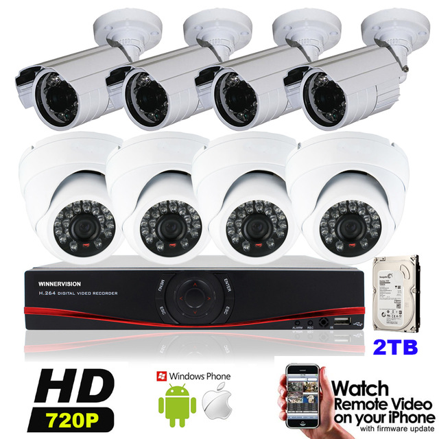 4pcs Indoor Dome camera & 4pcs Outdoor Bullet Cameras 720P 1MP 8CH AHD DVR HD 1200TVL Video Surveillance Kits IR CUT 2TB HDD