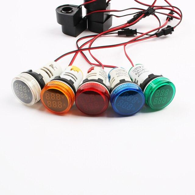 Voltmètre numérique 2 en 1, ampèremètre et voltmètre de tension du courant avec CT, nouveau, 22mm, AC50-500V 0-100A