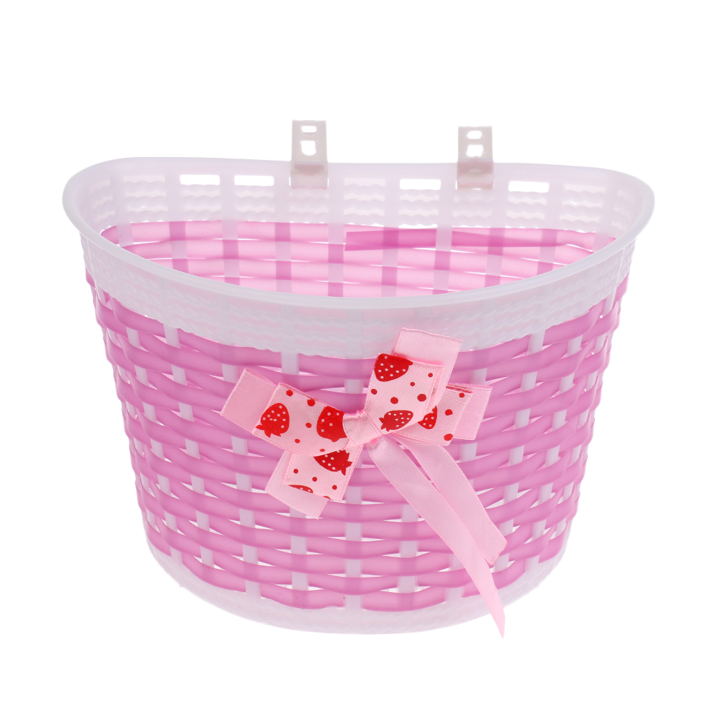New Children Kids Girls Bike Bowknot Front Bicycle Cycle Shopping Flower Basket