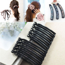 цена на 10pcs Hair Hoop Band Imported hair Banana Slide Comb Clips/hair Grips 8cm/10cm Black Women Long Hair Pin Hair Accessory Findings