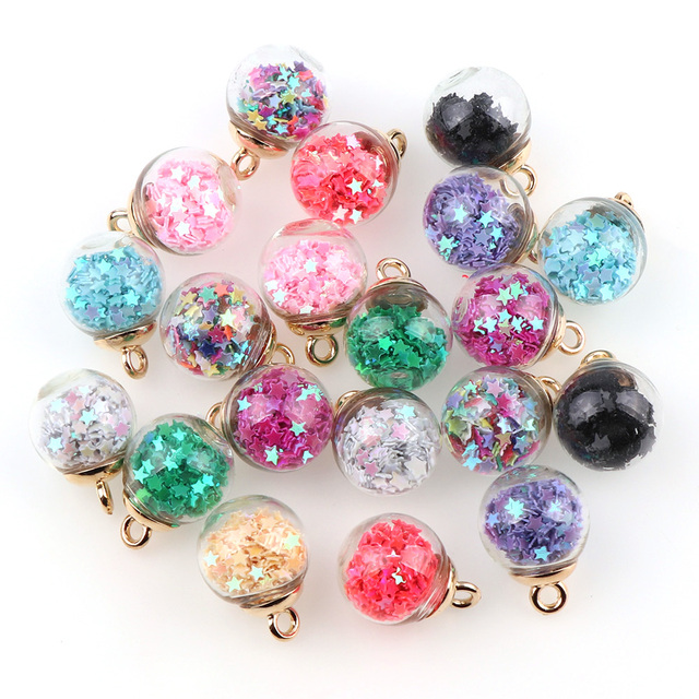 15mm Colorful Transparent Glass Ball Star Charms Pendant Finding for Hair Jewelr