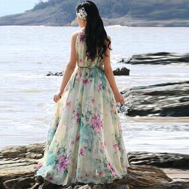 Summer Floral Long Chiffon Maxi Dress Gown Plus Sizes celebrity/graduation/Dinner Dress Beach Bridesmaid Sundress 5