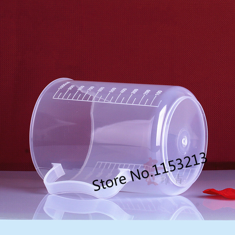 5 pcs/lot 1000ml Capacity Clear Plastic Graduated Laboratory Measuring cup PP measuring cylinder with handle kitchen baking tool