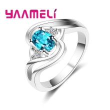 Round Wavy Shaped 925 Sterling Silver With Aqua Blue Crystal Jewelry Ring Beach Sea Resort Memorial For Bride(China)