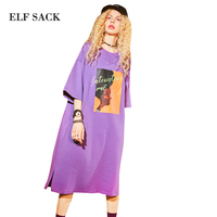 ELF SACK 2018 Summer Women Long Casual Straight Dress Designer Dresses Female High Quality Print Fashion